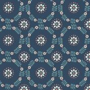 Lewis & Irene Home Sweet Home - 4162 - Daisy Chains, Stylised Floral on Navy - A98.1 - Cotton Fabric